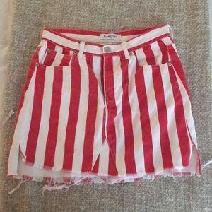 Red white striped denim skirt